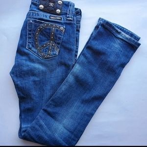 Miss Me Girls | Skinny Peace Sign Jeans | Size 14